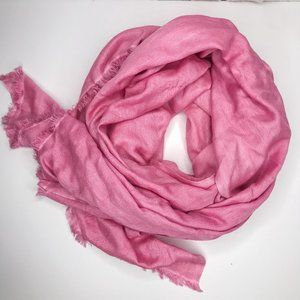 Anthropologie SAACHI Pink Frayed Edge Scarf Silk